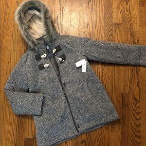 Old Navy grey toggle coat faux fur hood